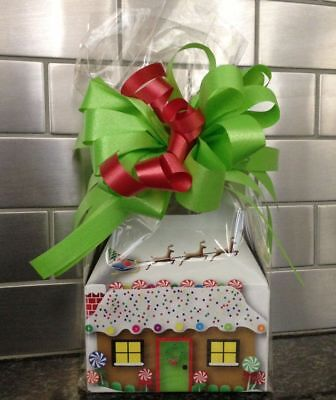 Christmas Ginger Bread House Candy Gift Box-Basket Wrapped With  Red Bow & Card