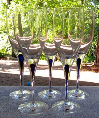 Set of FIVE Orrefors Intermezzo Blue White Wine Goblets New w Labels!