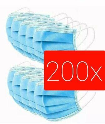 200 Stück Schutz-Masken Mundschutz-Masken 3 Lagig Einwegmaske Blaue-Maske 222
