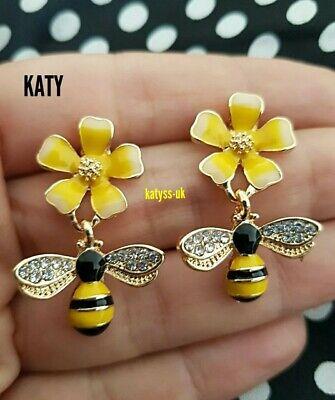 Vintage Style Crystal Diamante Daisy  Enamel Queen Bumble Bee Drop Earrings Gold