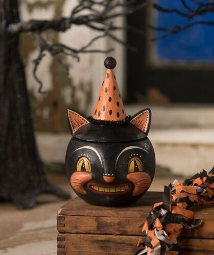 Johanna Parker Black Cat Halloween, Grinning Vinny, Bethany Lowe Candy Jar