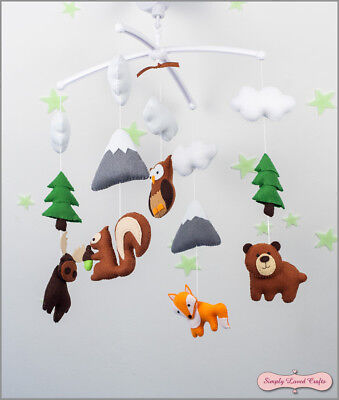 Baby Shower Gift Felt Handmade Mobile with Woodland Animals, Nursery Decor   ()