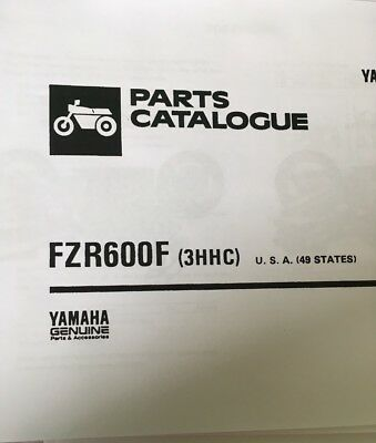 YAMAHA FZR 600 F 3HHC PARTS LIST MANUAL CATALOGUE 1994 paper copy.