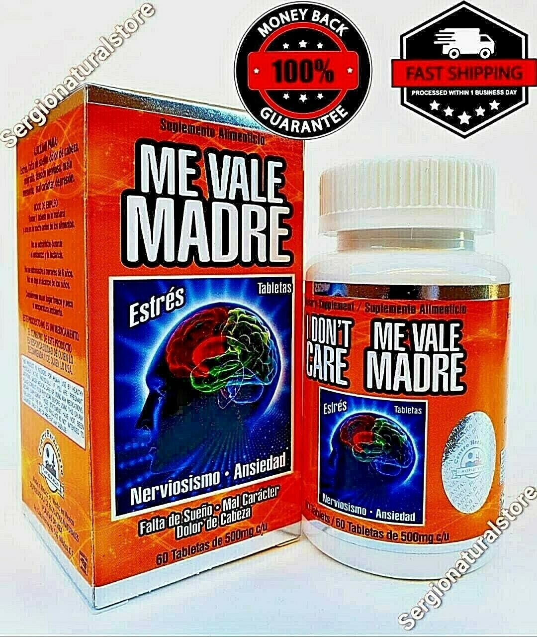 ME VALE MADRE 60 Tablets 500 mg each Support Estres Depresion Ansiedad