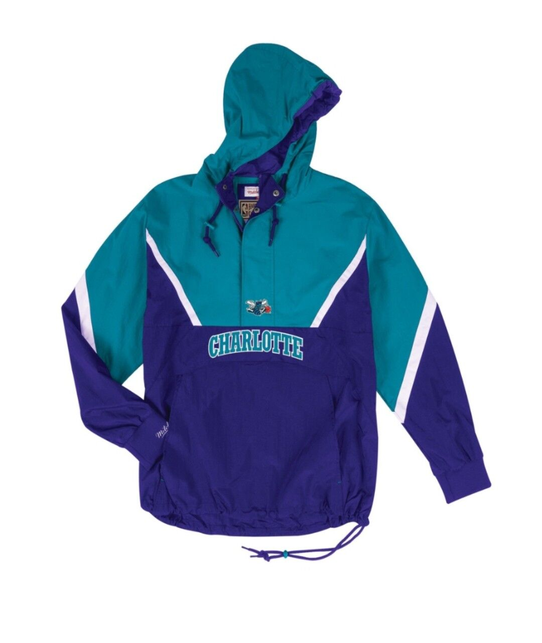 check out 7c0ea f2827 NEW Mitchell   Ness Half Zip Anorak NBA Charlotte Hornets Light Jacket