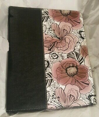 Buxton Black With Flowers Faux Leather Writing Pad Folio New