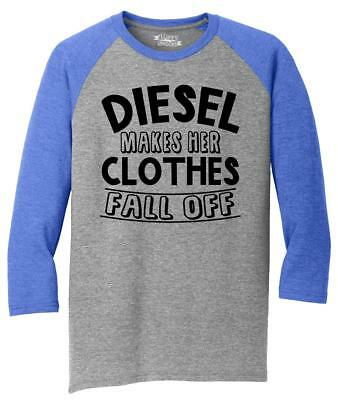 Mens Diesel Makes Her Clothes Fall Off 3/4 Triblend Truck Sex Country Redneck
