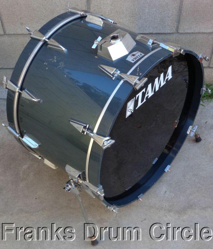 "Vintage Tama Granstar 16""x24"" Bass Drum Gun Metal Grey Blue Kick for Set"