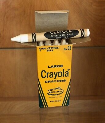 Rare 1960's Binney & Smith CRAYOLA CRAYONS No 33 1 Doz Bulk LARGE SIZE WHITE
