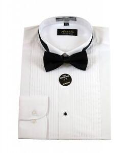 mens wing tip white tuxedo shirt modern fit wrinkle free