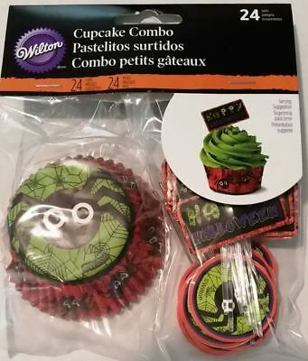 Spider Halloween Combo Pack 24 Baking Cups Cupcake Liners Picks Wilton - Wilton Halloween Cupcake Combo Pack