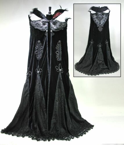 KATHERINES COLLECTION SORCERESS BLACK VELVET CLOAK WITH WIRED FEATHER COLLAR