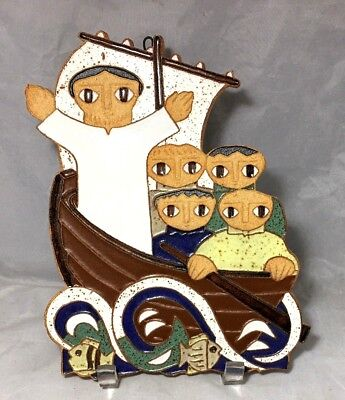 Jesus Calms the storm on the Sea of Galilee ceramic wall plaque Vintage - Jesus Calms The Sea