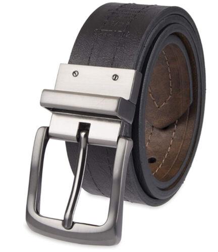 "Levis Reversible Black Brown Genuine Leather Silver Tone Buckle 1.25""  Belt Men"