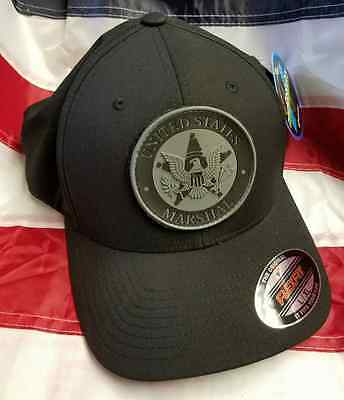 "USMS United States Marshals L/XL Black FlexFit Hat/Cap w 3"" PVC Patch Grey"