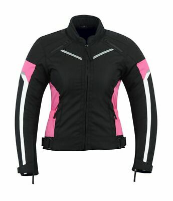 WOMENS MOTORCYCLE ARMORED PROTECTION WATERPROOF JACKET BLACK/PINK ARMOR CJ-1834P
