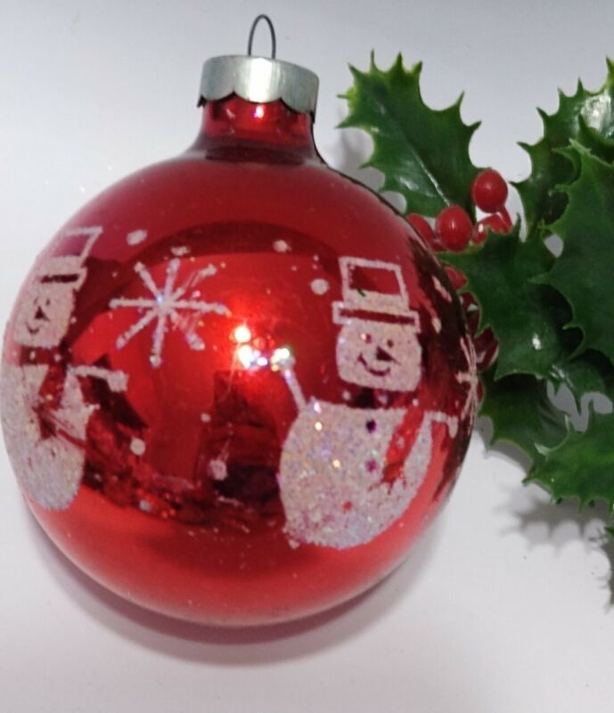 Vintage Mercury Glass Christmas Ornaments RED Mica Stenciled SNOWMAN