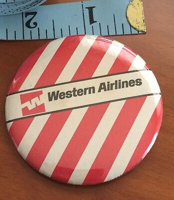 """WESTERN AIRLINES Vintage Badge Pinback Aviation 2 1/4"""" Pinback Button USA 1970s"""