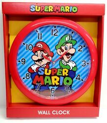 NINTENDO SUPER MARIO 10 WALL CLOCK HANGING DECOR RED KIDS ROOM NEW