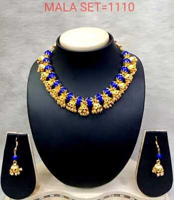 Indian Bollywood Style Fashion Ethnic Designer Polki Pearl Jewelry Necklace Set