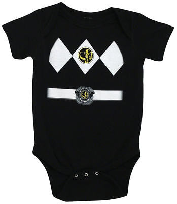 Infant Baby Mighty Morphin Power Rangers Black Ranger Costume Romper (Infant Power Ranger Costume)