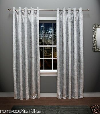 Crushed Velvet Curtains Fully Lined With Eyelet Heading Red Black Silver Ebay