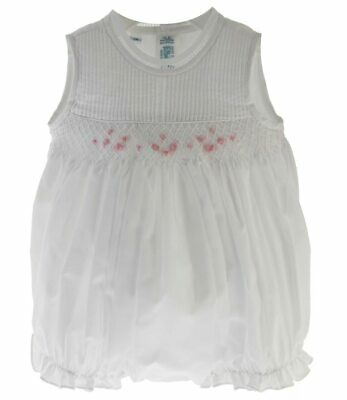 Feltman Brothers Baby Girls Sleeveless Bubble Outfit White with Pink Smocking