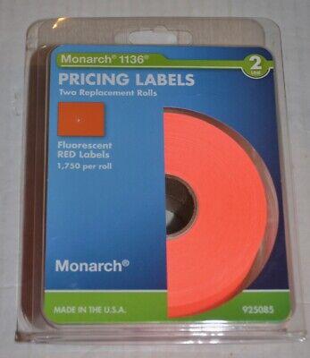Monarch 1136 Fluorescent Red Price Labels 925085 New Genuine 3500