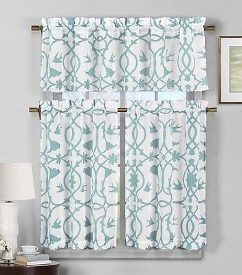 3 Piece Semi Sheer Window Curtain Set: Teal Blue and White Botanical Design