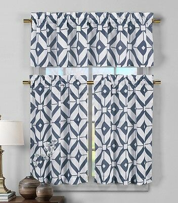 3 Piece Semi Sheer Window Curtain Set: Navy Blue and White Geometric Design
