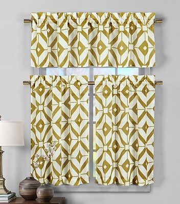 3 Piece Semi Sheer Window Curtain Set: Gold and White Geometric Design