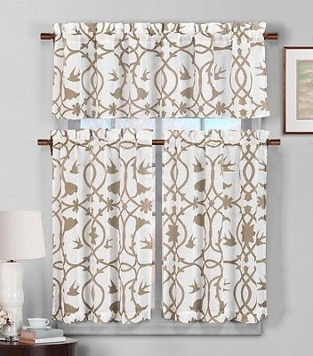 3 Piece Semi Sheer Window Curtain Set: Light Brown and White Botanical Design