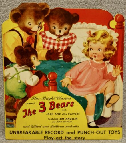 1949 THE THREE BEARS STAR-BRIGHT CLASSICS RECORD & PUNCH-OUT CHARACTERS