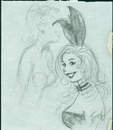 Playboy Artist Doug Sneyd Signed Original Art Illustration Sketch ~ Bunny Prelim