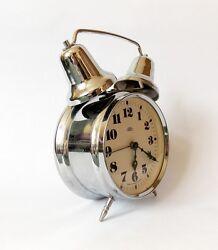 Vintage 1970s  Twin Bell Alarm clock PRIM Czechoslovakia Retro Old Desk Table