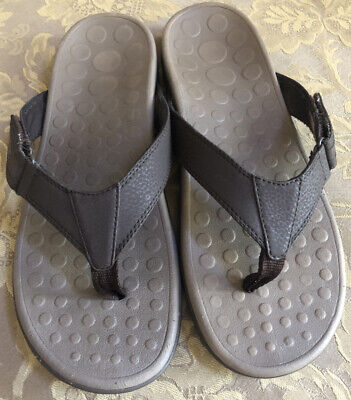 Vionic RYDER Brown Leather Orthaheel Technology Podiatrist Thong Sandals Men 10 Mens Leather Thong Sandals