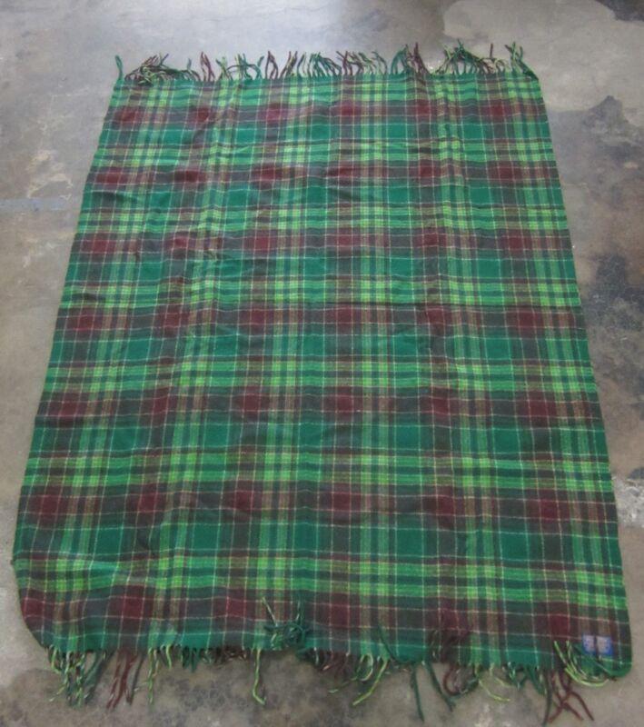 """51x66"""" Pendleton 100% Wool Green Brown Tartan Plaid Blanket"""