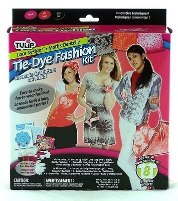 Lace Design Fashion Tie Dye Kit Tulip NEW clothing tye die black red fuschia art (Tye Die Kit)