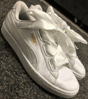 Puma Basket Heart White Patent Women's Trainers Size UK 4 Great Condition