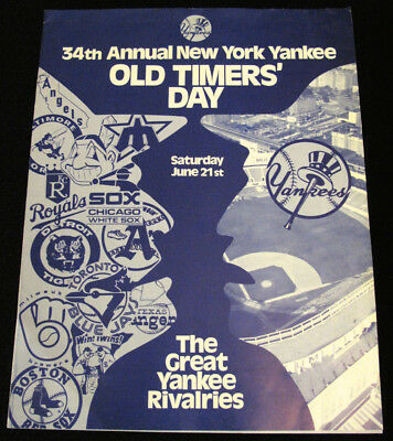 1980 Vintage 34th ANNUAL NEW YORK YANKEES Old Timers Day Program Brochure