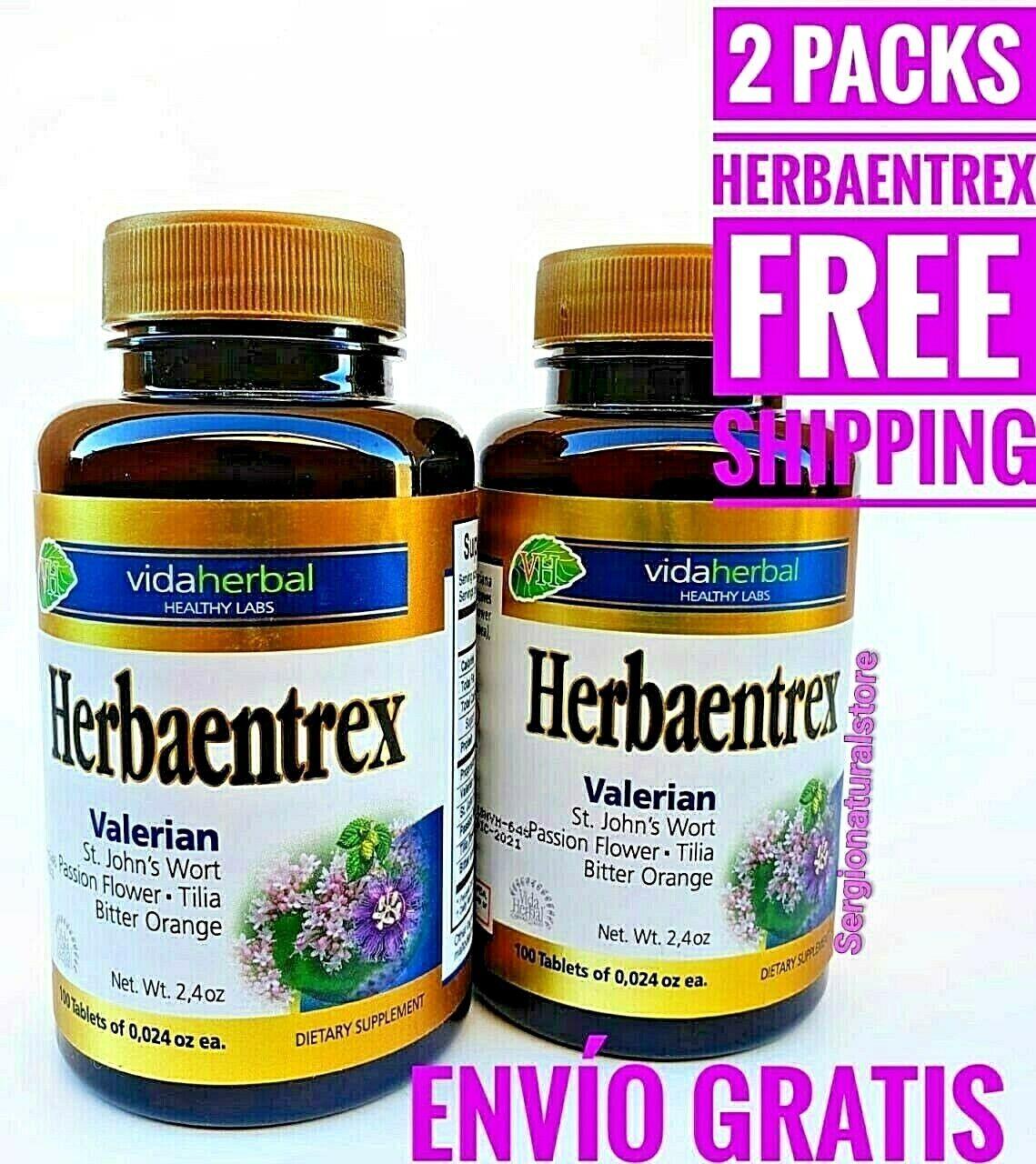 (2) Valeriana Hierba de San Juan HERBAENTREX 200 Tabs Valerian St John Wort Tila