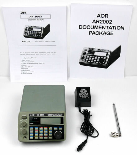 AOR AR2002 SCANNER /  RECEIVER 25-550 + 800-1300 MHZ + DOCUMENTATION PACKAGE