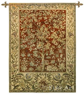 40x53 TREE OF LIFE Ruby William Morris Fine Art Tapestry Wall Hanging  Fine Art Cotton Natural