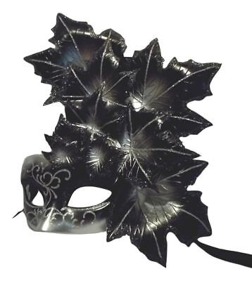 Black Silver Leaf Cascade Mask Masquerade Prom Mardi Gras (Leaf Cascade)