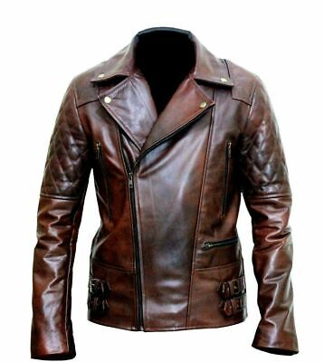 MENS  VINTAGE BIKER MOTORCYCLE DISTRESSED LEATHER QUILTED JACKET-CLASSIC DIAMOND