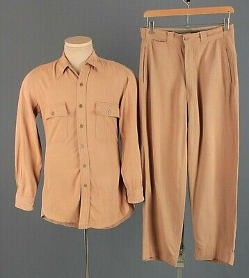 1940s Men's Shirts, Sweaters, Vests Men's 1940s WWII USAAF Pinks Officers Shirt S Pants 28x28 40s WW2 Vtg Air Force $99.00 AT vintagedancer.com
