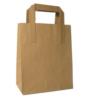 500 Medium SOS Brown Paper Carrier Kraft Bags with Handles Party Takeaway Food