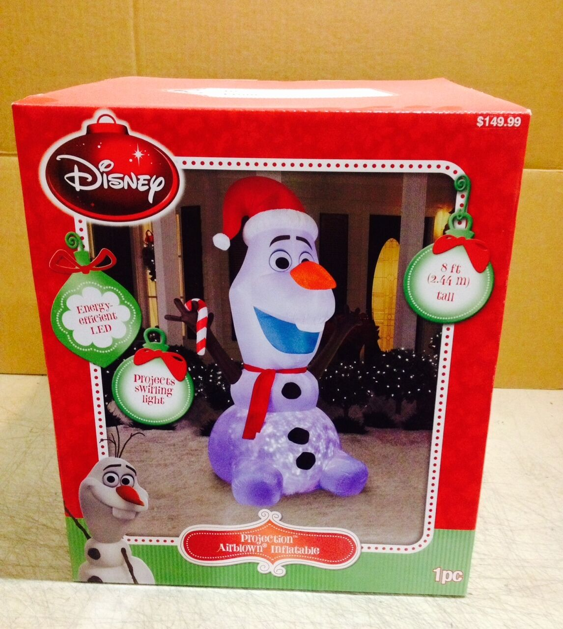 8' Disney Frozen Olaf Projection Swirling Light Christmas Airblown Inflatable