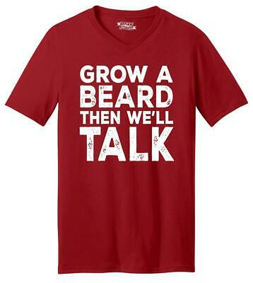 Mens Grow A Beard Then We'll Talk V-Neck