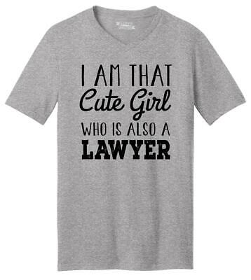 Mens I'm That Cute Girl Also Lawyer V-Neck Tee Law School College Girlfriend